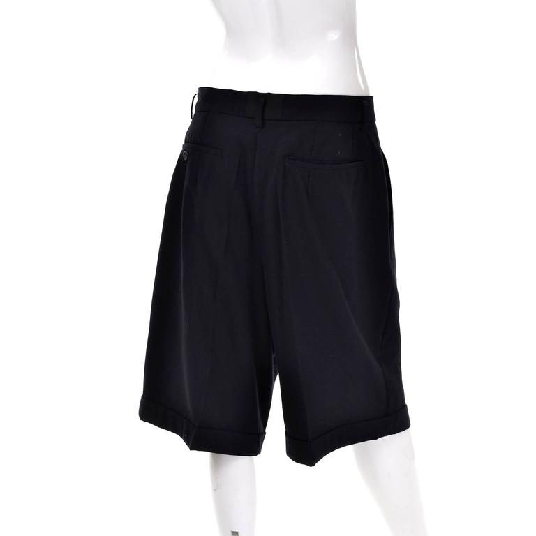 Women's Comme des Garcons Long Shorts Midnight Wool Oversized Medium For Sale
