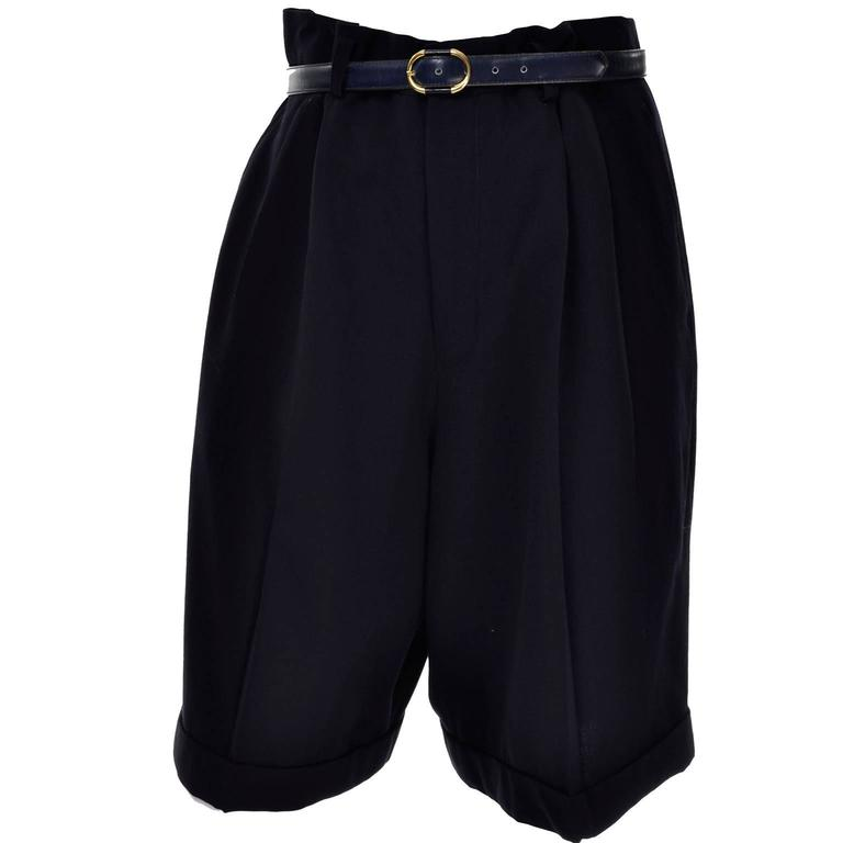 Comme des Garcons Long Shorts Midnight Wool Oversized Medium For Sale 2