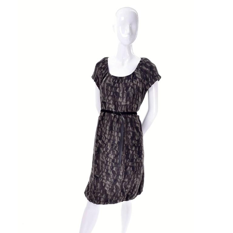 Moschino Ruffle Print Vintage Silk Dress With Bubble Hem and Suede Belt In Excellent Condition For Sale In Portland, OR