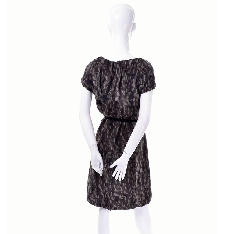 Women's Moschino Ruffle Print Vintage Silk Dress With Bubble Hem and Suede Belt For Sale