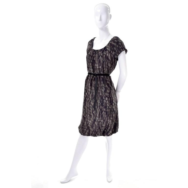 Black Moschino Ruffle Print Vintage Silk Dress With Bubble Hem and Suede Belt For Sale