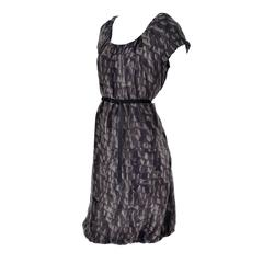 Moschino Ruffle Print Vintage Silk Dress With Bubble Hem and Suede Belt