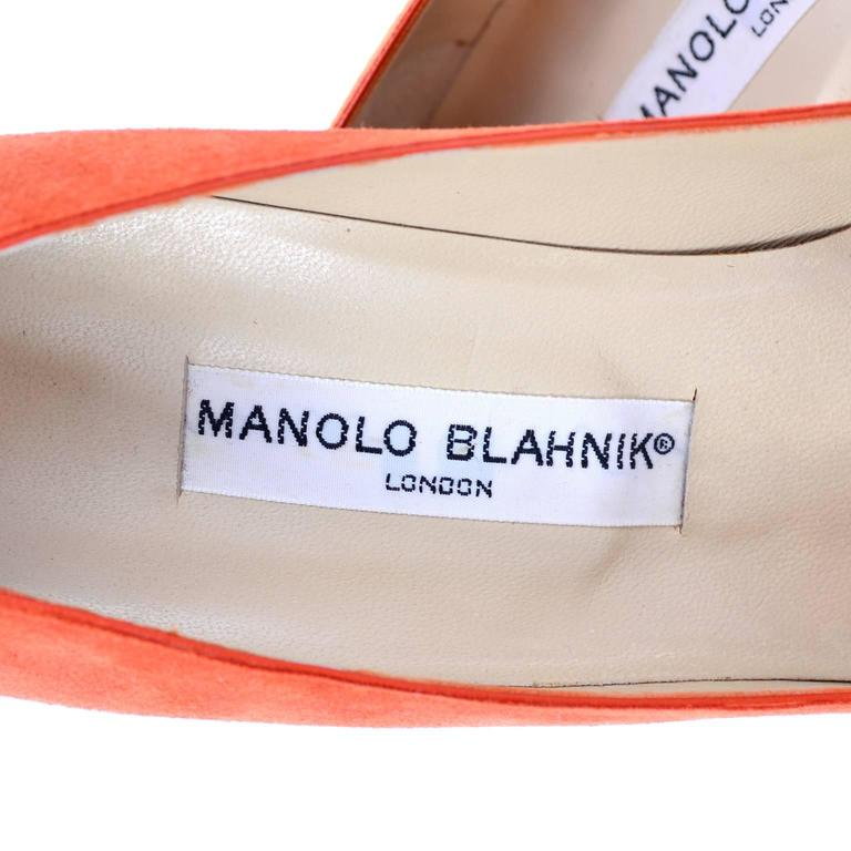Rare Vintage Orange Suede Manolo Blahnik Fall Shoes w/ Flame Size 38.5 For Sale 1