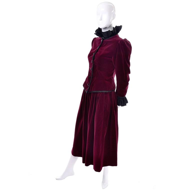 Black Vintage YSL Yves Saint Laurent Russian Burgundy Red Velvet Jacket & Skirt Suit For Sale