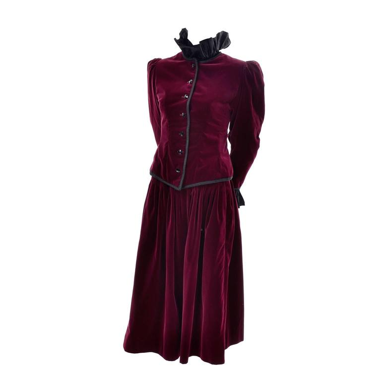 Vintage YSL Yves Saint Laurent Russian Burgundy Red Velvet Jacket & Skirt Suit For Sale