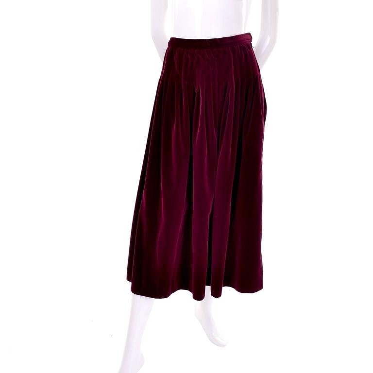 Women's Vintage YSL Yves Saint Laurent Russian Burgundy Red Velvet Jacket & Skirt Suit For Sale