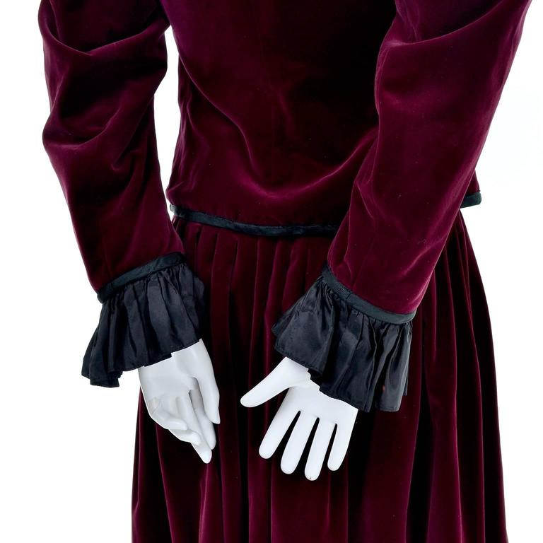 Vintage YSL Yves Saint Laurent Russian Burgundy Red Velvet Jacket & Skirt Suit For Sale 1
