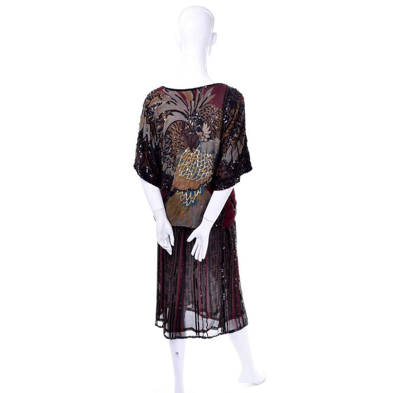 1970s Rare Adolfo Vintage Silk Pattern Mix Eagle Dress With Beading & Sequins 5