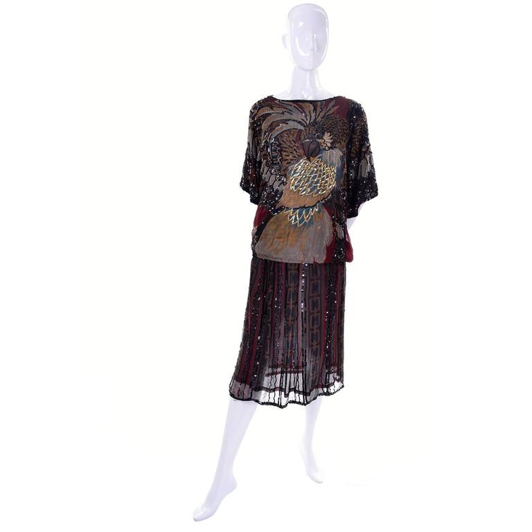 1970s Rare Adolfo Vintage Silk Pattern Mix Eagle Dress With Beading & Sequins 3