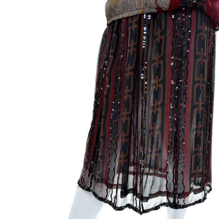1970s Rare Adolfo Vintage Silk Pattern Mix Eagle Dress With Beading & Sequins 6