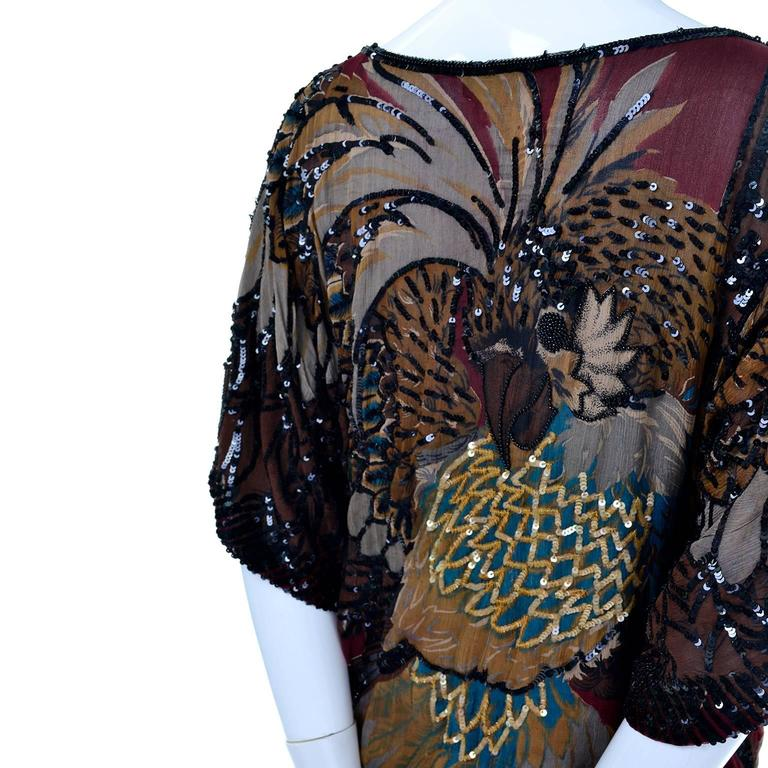 1970s Rare Adolfo Vintage Silk Pattern Mix Eagle Dress With Beading & Sequins 4