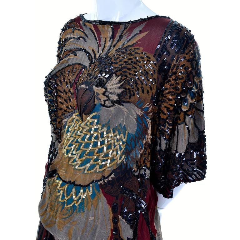 1970s Rare Adolfo Vintage Silk Pattern Mix Eagle Dress With Beading & Sequins 2