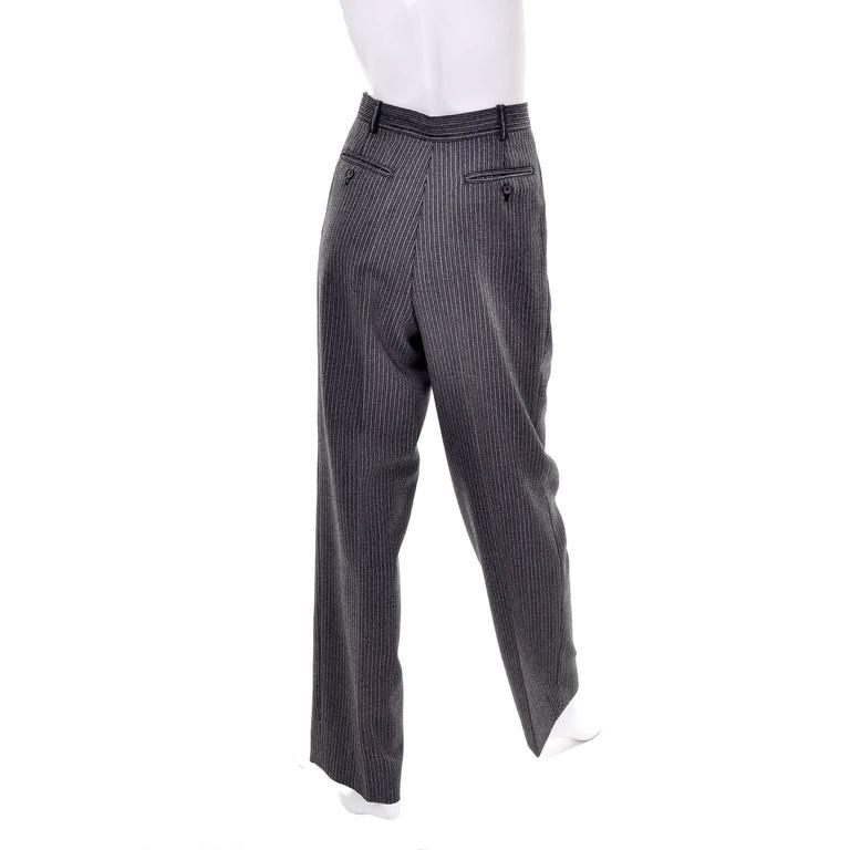 Black YSL Yves Saint Laurent Vintage Pinstriped Wool High Waisted Pants For Sale