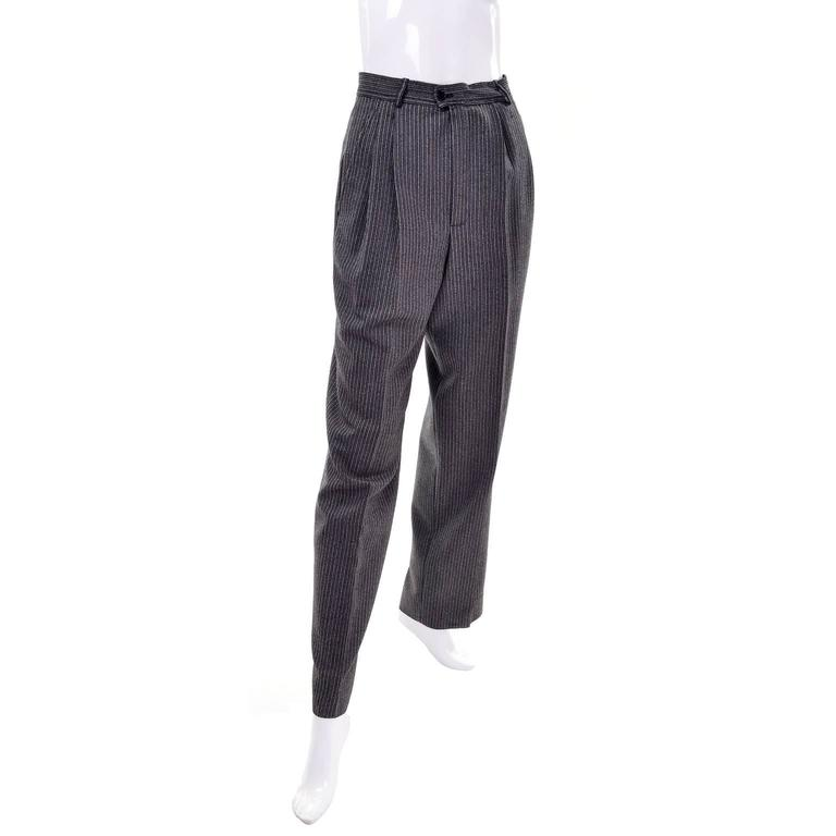 YSL Yves Saint Laurent Vintage Pinstriped Wool High Waisted Pants 2