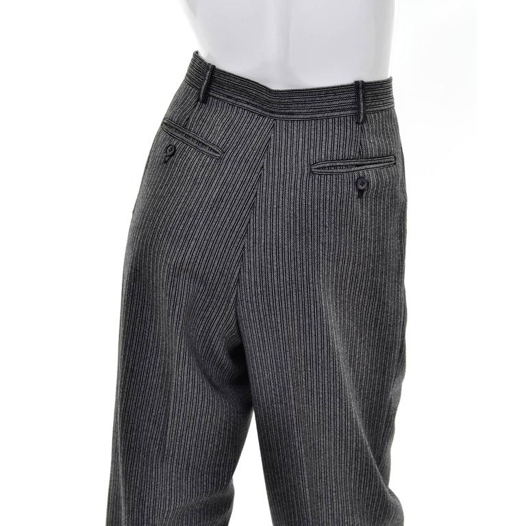 YSL Yves Saint Laurent Vintage Pinstriped Wool High Waisted Pants 4
