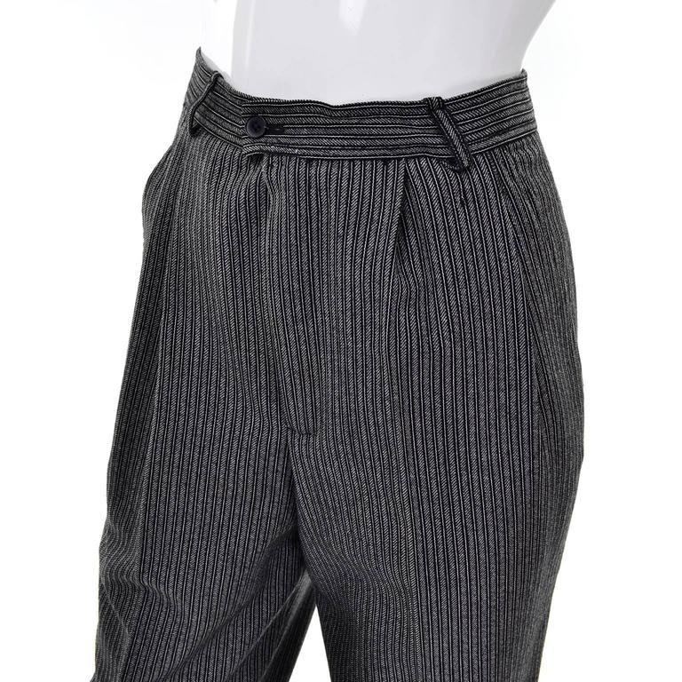 Women's YSL Yves Saint Laurent Vintage Pinstriped Wool High Waisted Pants For Sale