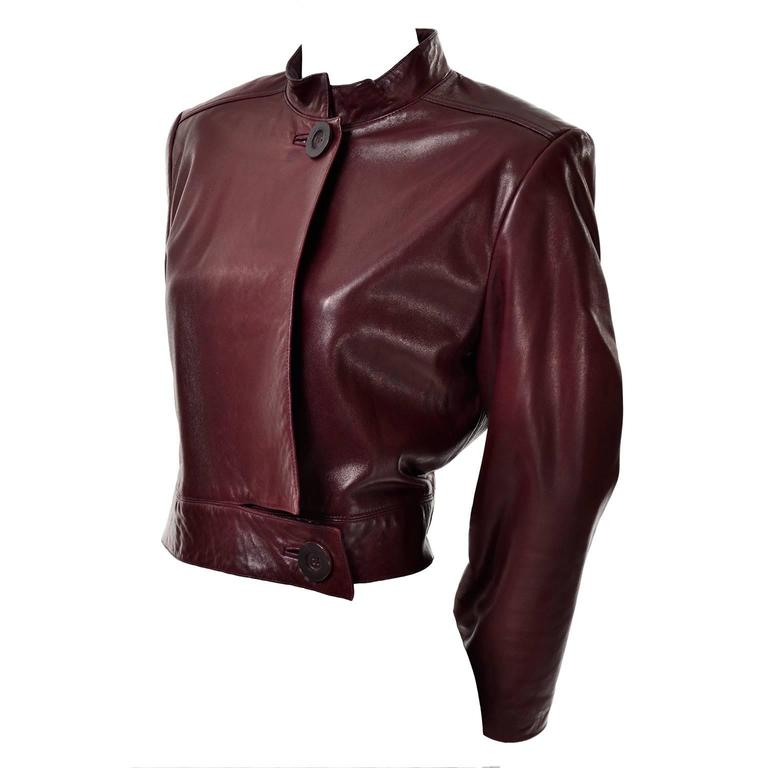 Vintage Geoffrey Beene Lambskin Short Jacket W/ Pleated ...