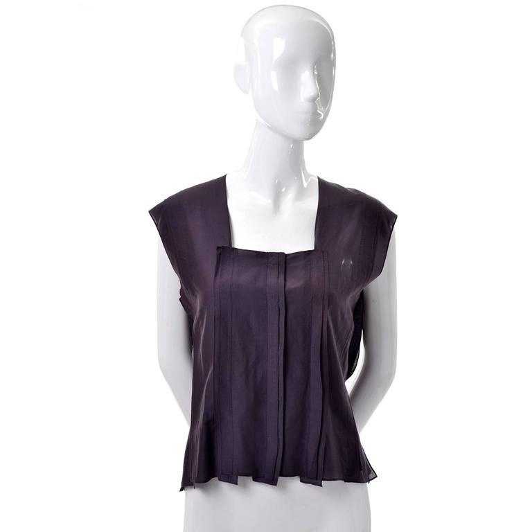 YSL Yves Saint Laurent Aubergine Sleeveless Cotton top with Split Side Panels 2