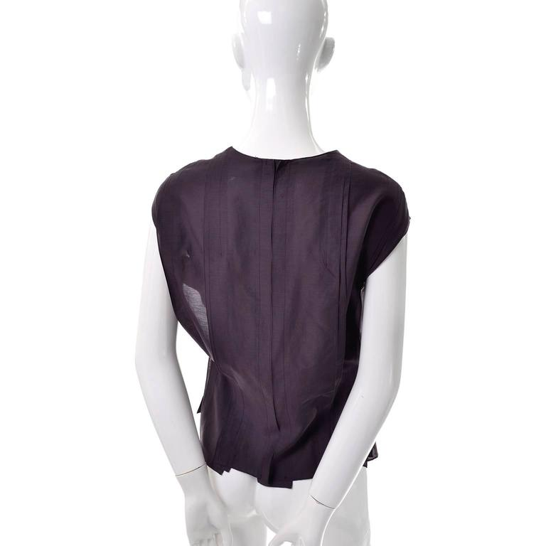 YSL Yves Saint Laurent Aubergine Sleeveless Cotton top with Split Side Panels In Excellent Condition For Sale In Portland, OR