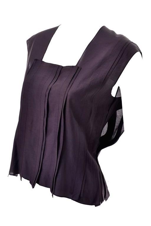 YSL Yves Saint Laurent Aubergine Sleeveless Cotton top with Split Side Panels 5