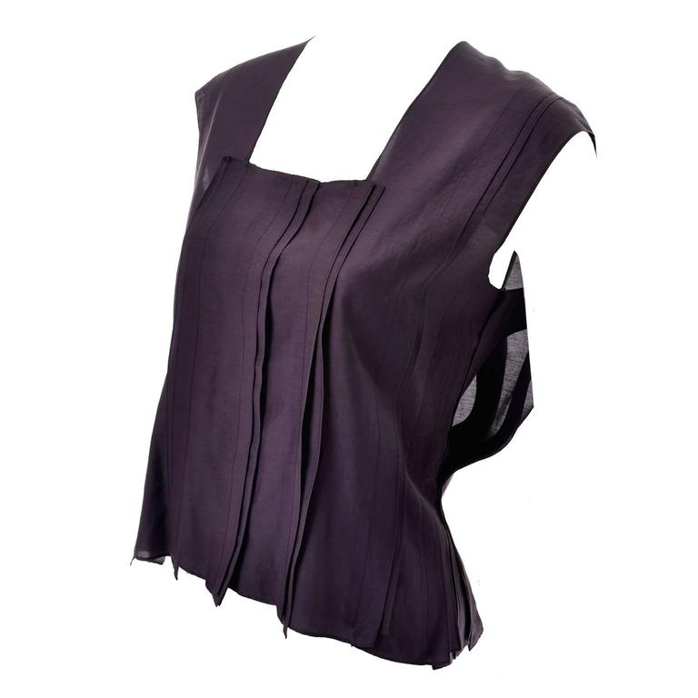 YSL Yves Saint Laurent Aubergine Sleeveless Cotton top with Split Side Panels For Sale