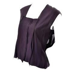 YSL Yves Saint Laurent Aubergine Sleeveless Cotton top with Split Side Panels