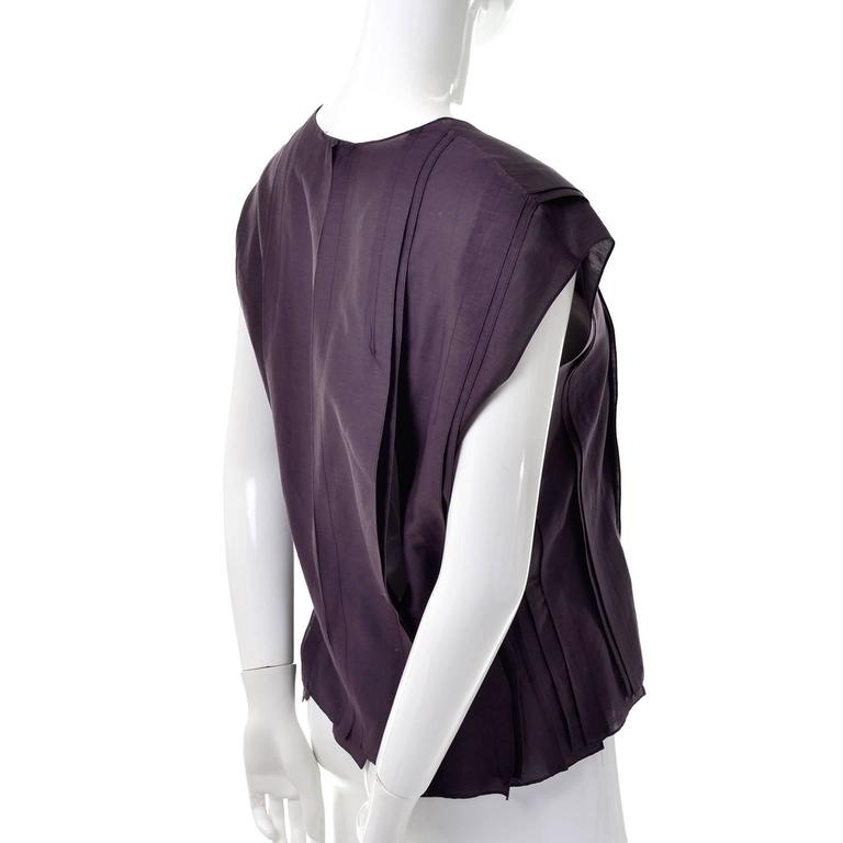 YSL Yves Saint Laurent Aubergine Sleeveless Cotton top with Split Side Panels For Sale 1