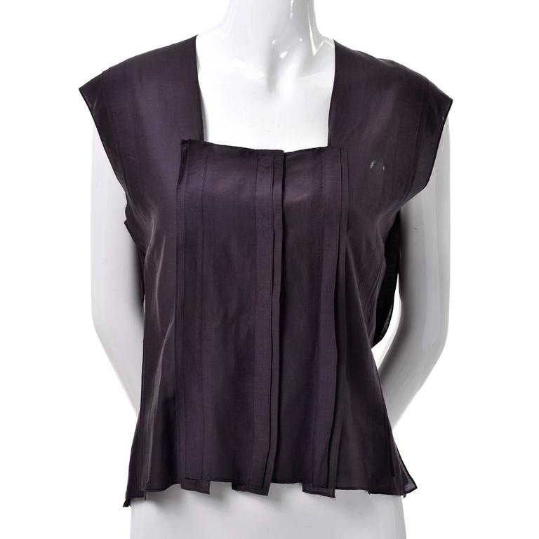 Black YSL Yves Saint Laurent Aubergine Sleeveless Cotton top with Split Side Panels For Sale