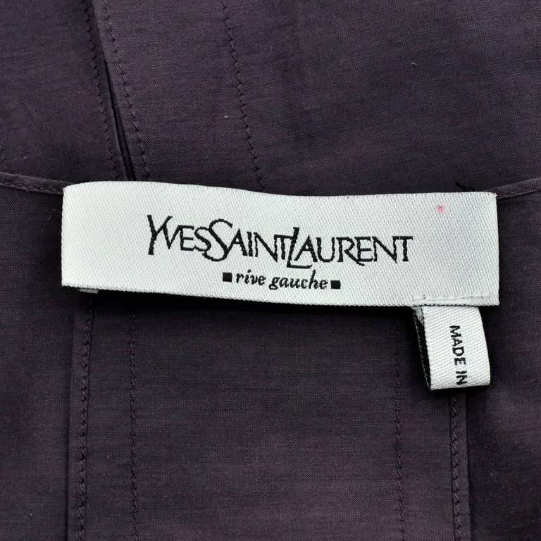 YSL Yves Saint Laurent Aubergine Sleeveless Cotton top with Split Side Panels For Sale 2