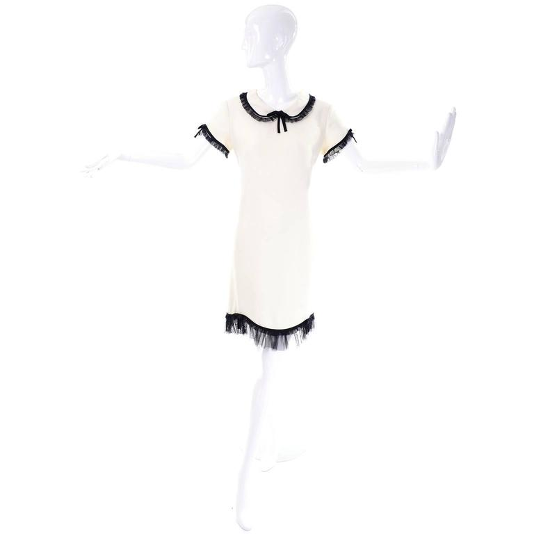 1990s Vintage Moschino Ivory Crepe Dress With Black Tulle Net Ruffles 2