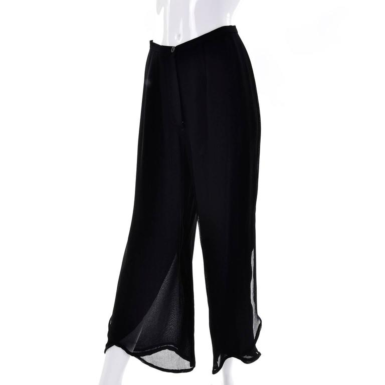 Vintage Giorgio Armani Black Sheer Crepe Split Pants & Tunic Evening Ensemble 4