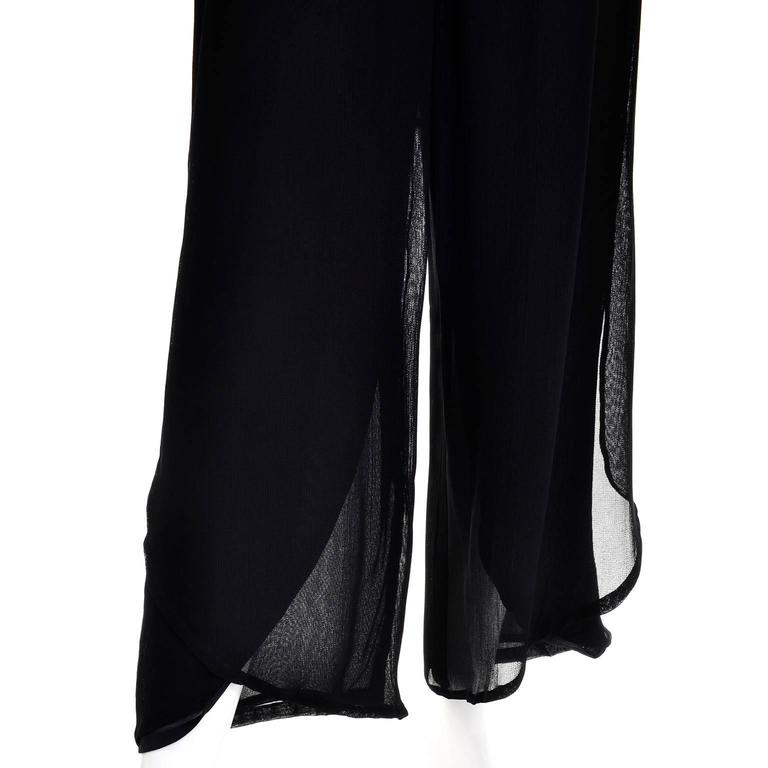 Vintage Giorgio Armani Black Sheer Crepe Split Pants & Tunic Evening Ensemble 7