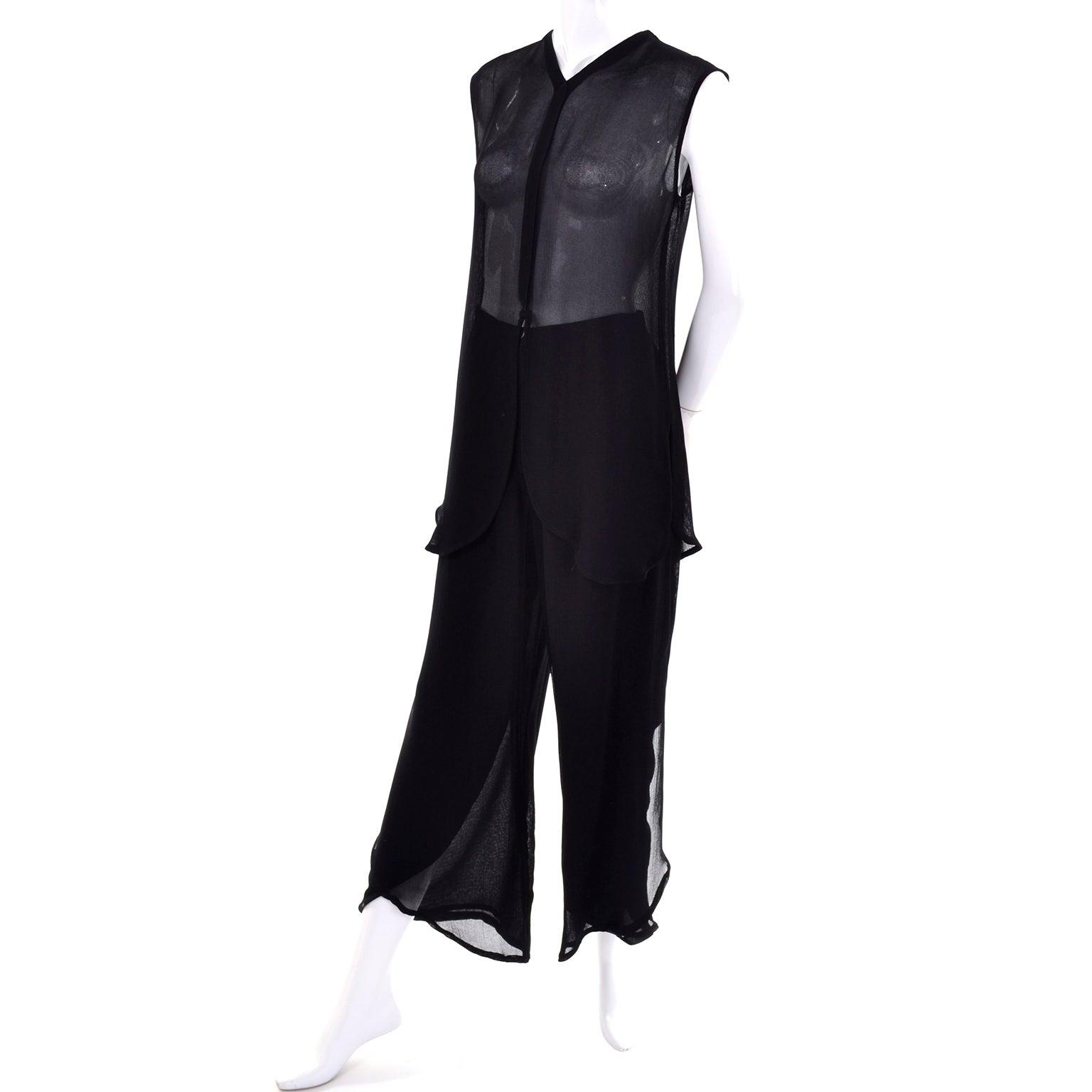 22d7cac4dc8 Vintage Giorgio Armani Black Sheer Crepe Split Pants and Tunic Evening  Ensemble For Sale at 1stdibs