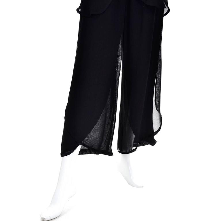 Vintage Giorgio Armani Black Sheer Crepe Split Pants & Tunic Evening Ensemble 6