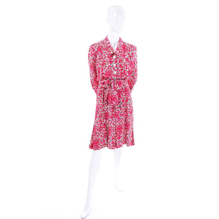 Yves Saint Laurent YSL Vintage Pink Floral Silk Dress With Sash 1970s  3