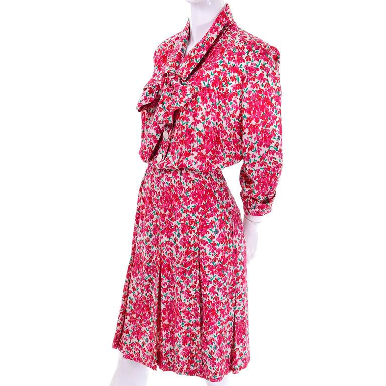 Yves Saint Laurent YSL Vintage Pink Floral Silk Dress With Sash 1970s  6
