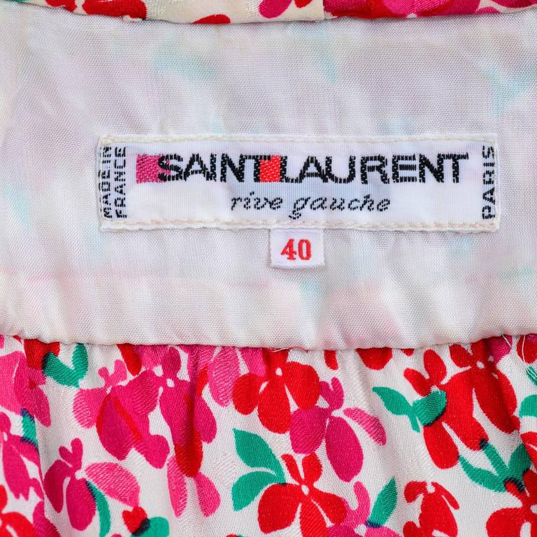 Yves Saint Laurent YSL Vintage Pink Floral Silk Dress With Sash 1970s  10