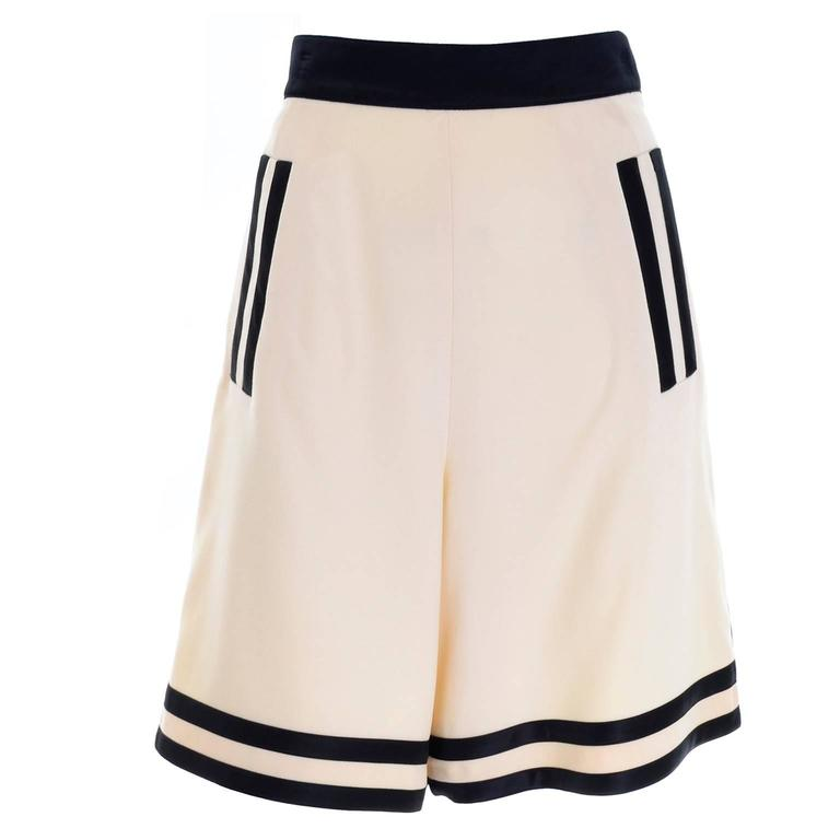 Escada Couture Vintage High Waisted Culotte Shorts Ivory Wool With Black Trim