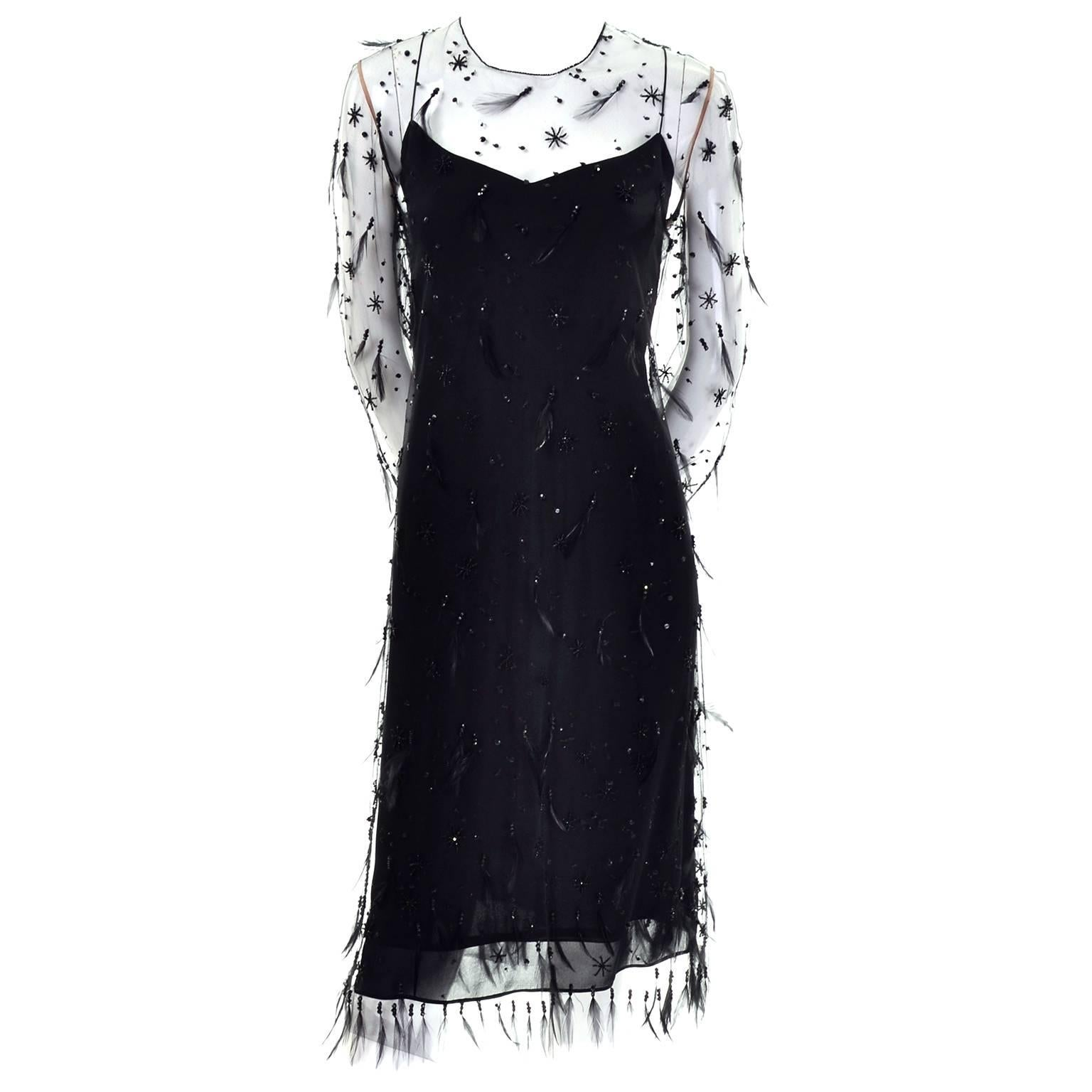 Carolina Herrera Black and Cream Silk Cocktail Dress 8US For Sale at ...
