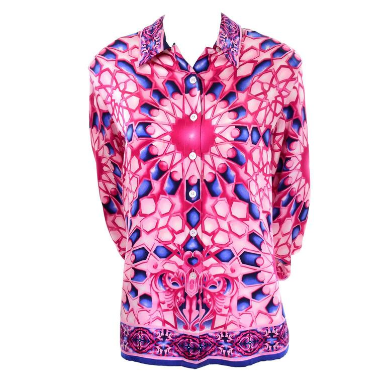 Escada Saks Fifth Avenue Vintage Silk Blouse in Abstract Pink and Blue Print