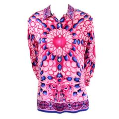 Escada Saks Fifth Avenue Vintage Silk Blouse in Abstract Pink & Blue Bold Print