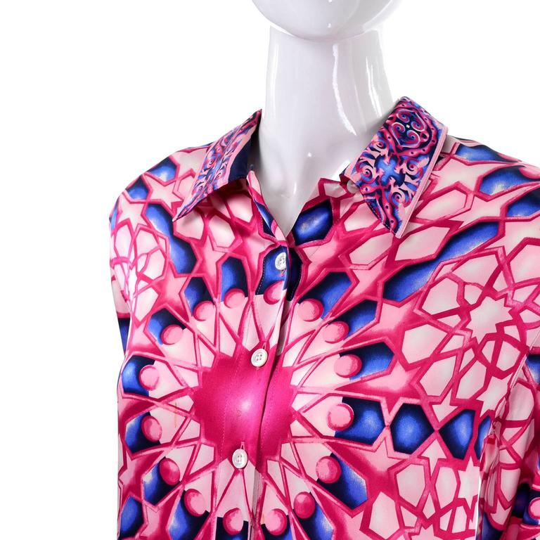 Escada Saks Fifth Avenue Vintage Silk Blouse in Abstract Pink & Blue Bold Print In Excellent Condition For Sale In Portland, OR