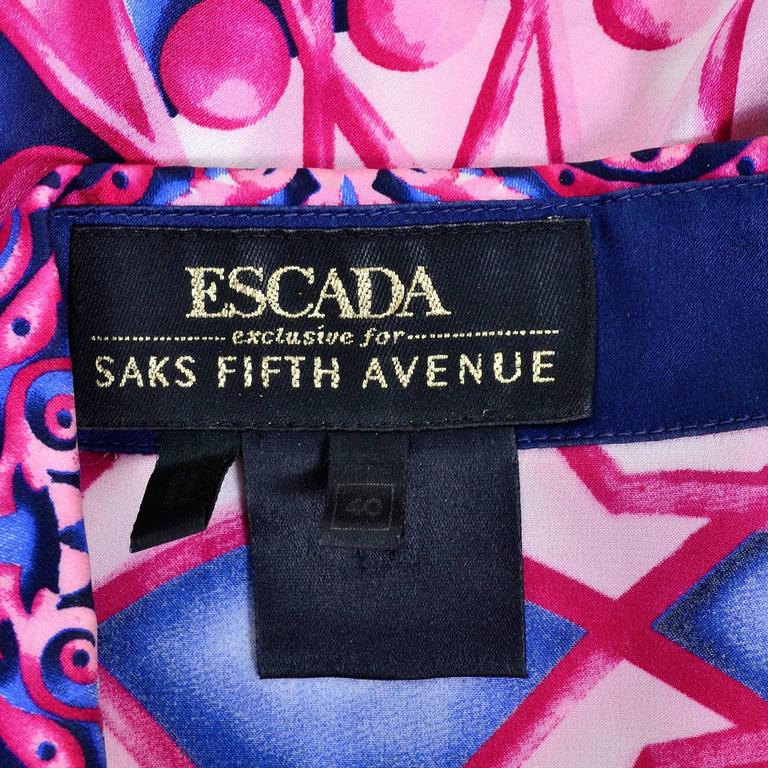Escada Saks Fifth Avenue Vintage Silk Blouse in Abstract Pink & Blue Bold Print For Sale 3