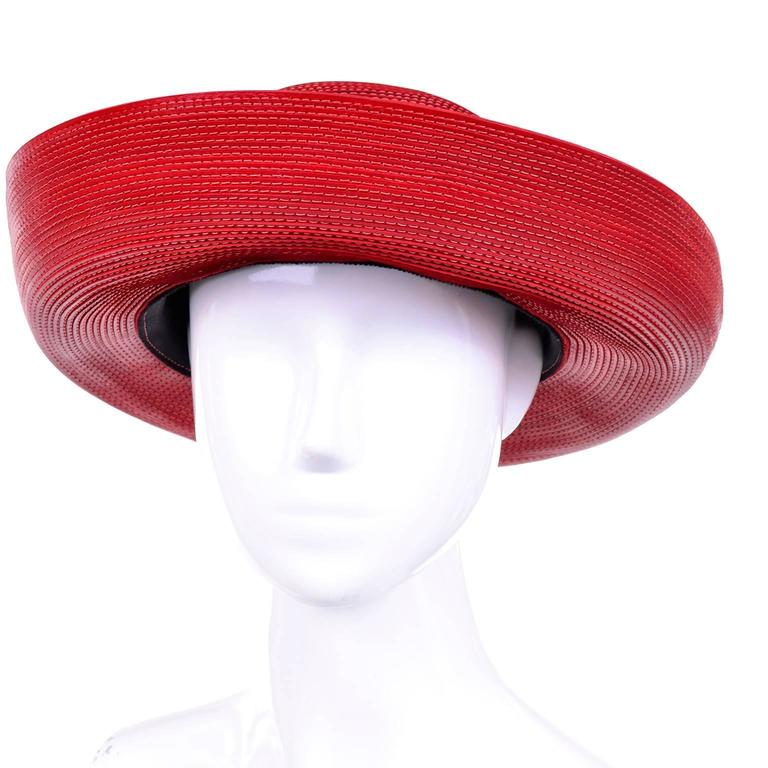Patricia Underwood Vintage Red Leather Hat with Topstitching 2
