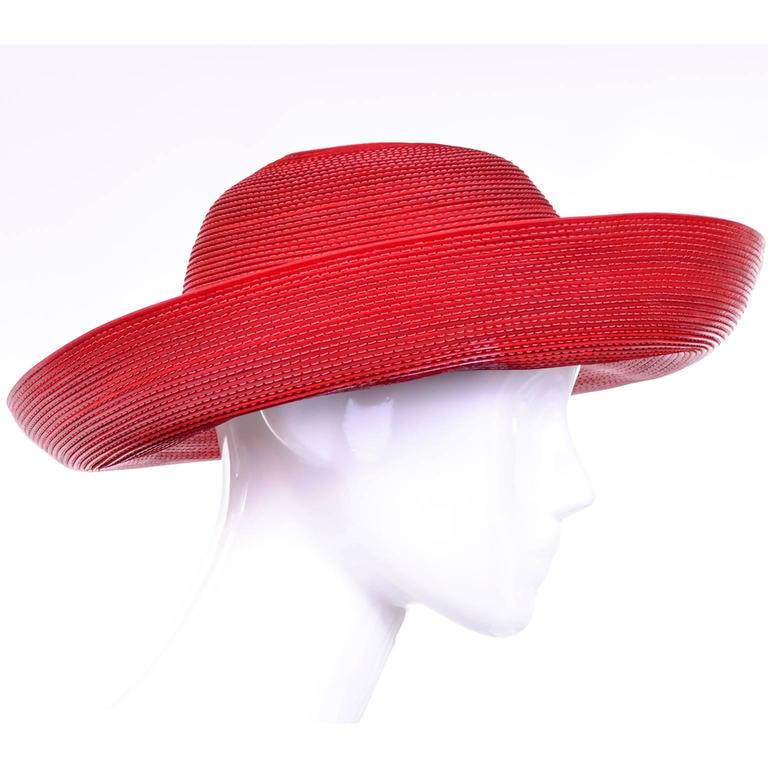 Patricia Underwood Vintage Red Leather Hat with Topstitching 4
