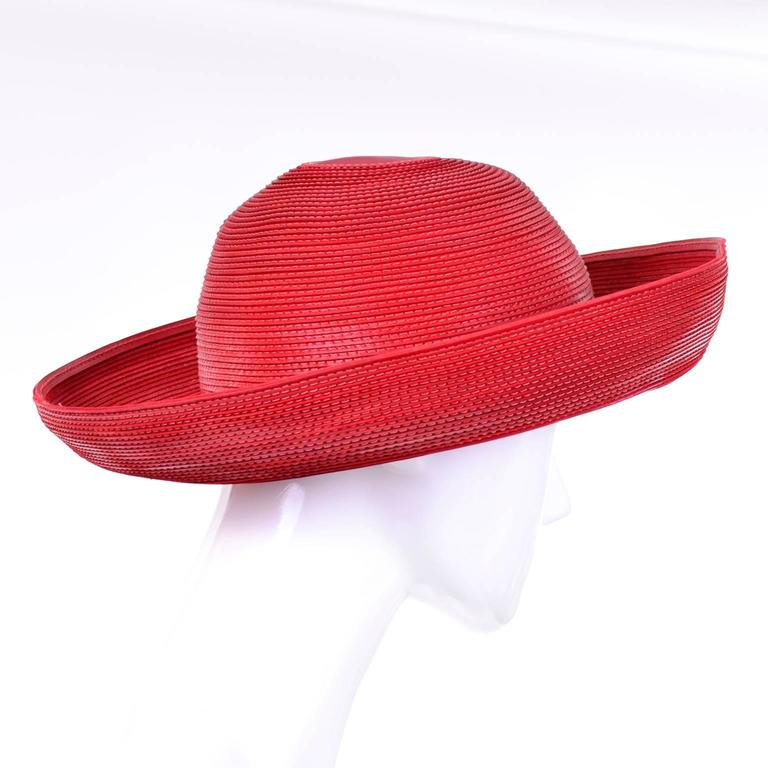Patricia Underwood Vintage Red Leather Hat with Topstitching 5