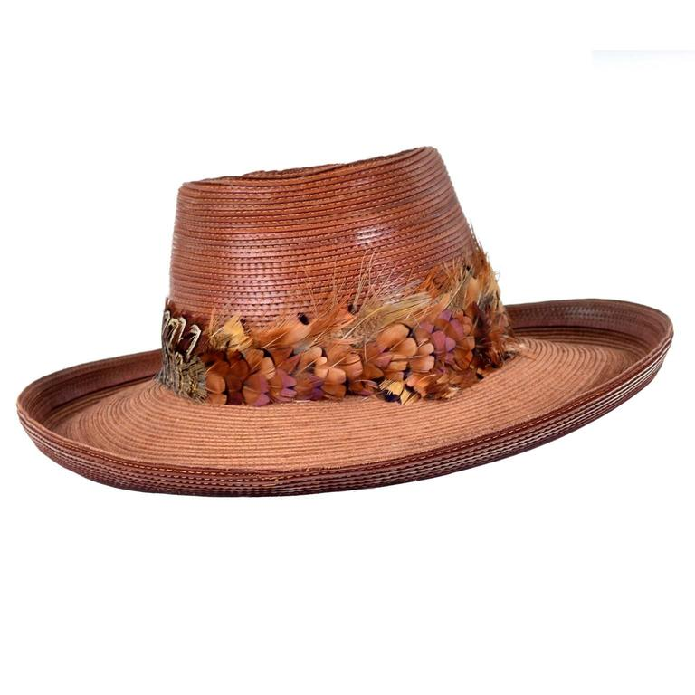 Patricia Underwood Vintage Hat in Brown Leather with Feather Trim In Excellent Condition For Sale In Portland, OR