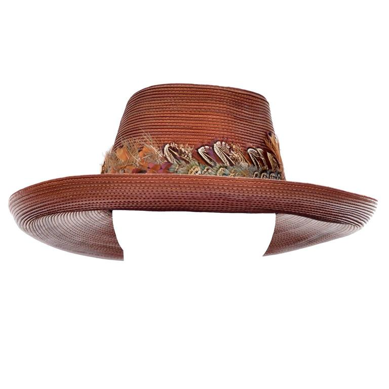 Women's Patricia Underwood Vintage Hat in Brown Leather with Feather Trim For Sale