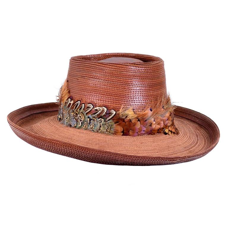 Patricia Underwood Vintage Hat in Brown Leather with Feather Trim For Sale 1