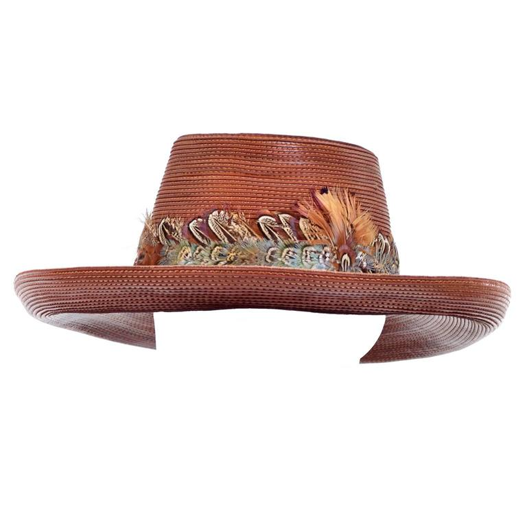 Patricia Underwood Vintage Hat in Brown Leather with Feather Trim For Sale 2